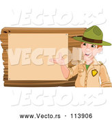 Vector of a Friendly Cartoon White Male Park Ranger Presenting Notices on a Board by Pushkin