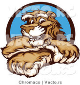 Vector of a Friendly Cougar Mascot Smiling with Arms Crossed by Chromaco