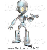 Vector of a Friendly Futuristic Robot Gesturing with One Hand by AtStockIllustration