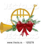Vector of a Gold Christmas French Horn with Holly and a Red Bow by Pams Clipart