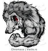 Vector of a Gray Wolf Mascot Display Strength While Flexing Muscles and Grinning by Chromaco