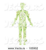 Vector of a Green Silhouetted Guy with Vines and Visible Organs by BNP Design Studio