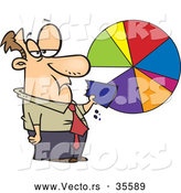 Vector of a Grumpy Cartoon Businessman Eating a Slice of a Pie Chart by Toonaday