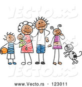 Vector of a Happy Black Family with Dog by C Charley-Franzwa