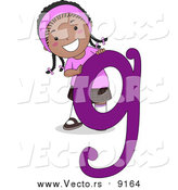 Vector of a Happy Black Girl with a Purple Letter G by BNP Design Studio