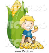 Vector of a Happy Blond Boy Sitting on Kernels Against a Giant Ear of Corn by BNP Design Studio