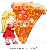 Vector of a Happy Blond Caucasian Girl Holding up a Giant Slice of Pizza by BNP Design Studio