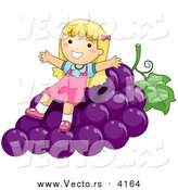Vector of a Happy Blond Girl Sitting on Giant Purple Grapes by BNP Design Studio
