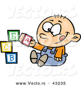 Vector of a Happy Cartoon Baby Boy Playing with Alphabet ABC Blocks by Toonaday