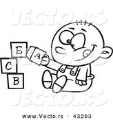 Vector of a Happy Cartoon Baby Boy Playing with Alphabet Blocks - Coloring Page Outline by Toonaday