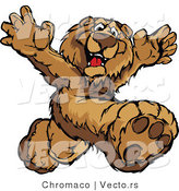 Vector of a Happy Cartoon Bear Mascot Prancing Around by Chromaco