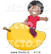 Vector of a Happy Cartoon Black Boy Riding a Giant Mango Fruit by BNP Design Studio