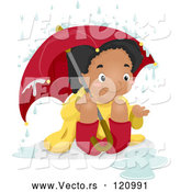 Vector of a Happy Cartoon Black Girl Sitting in the Rain Under an Umbrella by BNP Design Studio