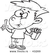 Vector of a Happy Cartoon Boy Eating French Fries - Coloring Page Outline by Toonaday