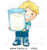 Vector of a Happy Cartoon Boy Holding Big Glass of Milk by BNP Design Studio