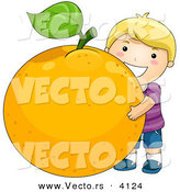 Vector of a Happy Cartoon Boy Hugging a Huge Orange - Coloring Page Outline by BNP Design Studio