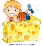 Vector of a Happy Cartoon Boy Laying on Cheese Wedge by BNP Design Studio