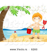 Vector of a Happy Cartoon Boy Making a Beach Sand Castle by BNP Design Studio