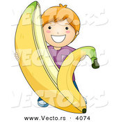Vector of a Happy Cartoon Boy Peeling Giant Banana Skin Back by BNP Design Studio
