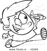 Vector of a Happy Cartoon Boy Playing with a Toy Jet While Running - Coloring Page Outline by Toonaday