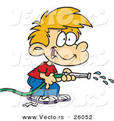 Vector of a Happy Cartoon Boy Using a Water Hose by Toonaday