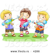 Vector of a Happy Cartoon Boys Playing with Water Squirt Guns on Grass by BNP Design Studio