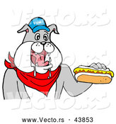 Vector of a Happy Cartoon Bulldog Mascot Eating Hot Dog with Mustard by LaffToon