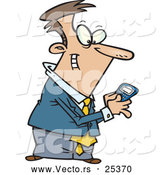 Vector of a Happy Cartoon Businessman Sending Messages with His Smartphone by Toonaday