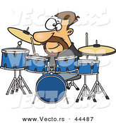 Vector of a Happy Cartoon Drummer Playing with His Instruments by Toonaday
