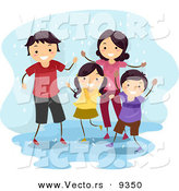 Vector of a Happy Cartoon Family Playing in a Water Puddle While It Is Raining by BNP Design Studio