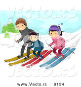 Vector of a Happy Cartoon Family Snow Skiing down a Slope by BNP Design Studio