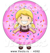 Vector of a Happy Cartoon Girl Looking Through a Giant Pink Donut with Hole by BNP Design Studio