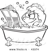 Vector of a Happy Cartoon Girl Reading the Newspaper in a Bath Tub - Coloring Page Outline by Toonaday