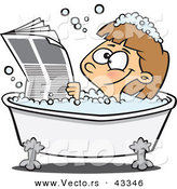 Vector of a Happy Cartoon Girl Reading the Newspaper While Soaking in a Hot Bubbly Bath Tub by Toonaday