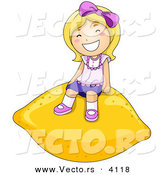 Vector of a Happy Cartoon Girl Sitting on a Giant Lemon by BNP Design Studio