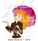 Vector of a Happy Cartoon Girl Standing Under an Umbrella in the Rain by BNP Design Studio