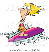Vector of a Happy Cartoon Girl Surfing Wave on Surfboard by Toonaday