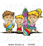 Vector of a Happy Cartoon Kids Brothers and Sister at the Beach with Surfboard and Ball by Chromaco