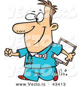 Vector of a Happy Cartoon Male Nurse Walking with a Clipboard and a Smile by Toonaday