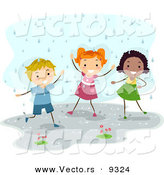 Vector of a Happy Diverse Kids Playing in the Rain by BNP Design Studio