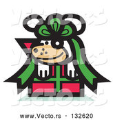 Vector of a Happy Gifted Cartoon Dog Tied up in a Bow on a Christmas by Andy Nortnik
