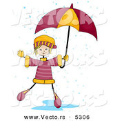 Vector of a Happy Girl Playing in a Rain Puddle While Holding an Umbrella by BNP Design Studio