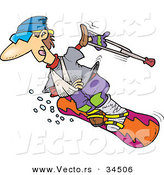 Vector of a Happy Injured Cartoon Snowboarder Sliding down a Ski Slope by Toonaday