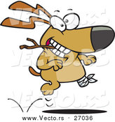 Vector of a Happy Injured Dog Running with Stick by Toonaday