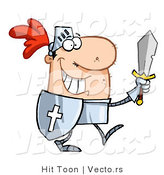Vector of a Happy Knight Carrying Sword and Shield While Walking in Armor by Hit Toon