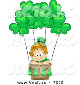 Vector of a Happy Leprechaun Toddler Boy Traveling in a Hot Air Balloon with Clovers by BNP Design Studio