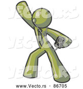 Vector of a Happy Olive Green Person Dancing and Listening to Music with an MP3 Player by Leo Blanchette