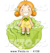 Vector of a Happy Red Haired Girl Sitting on a Giant Head of Cabbage by BNP Design Studio
