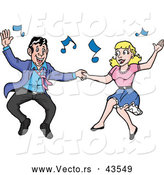 Vector of a Happy Rockabilly Man and Lady Jive Dancing by LaffToon