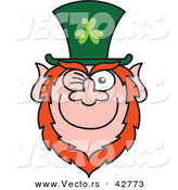 Vector of a Happy St. Paddy's Day Cartoon Leprechaun Winking and Smiling by Zooco